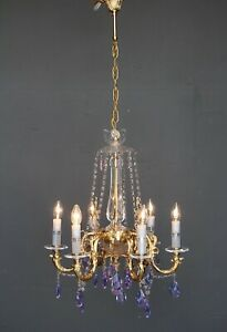 Big impressive antique French Louis style crystal chandelier gold plated luxury