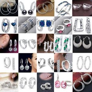 Women Wedding 925 Silver Filled Sapphire Crsytal Dangle Huggie Hoop Earrings