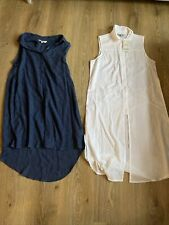 Peacocks Womens Long Line Button Up Sleeveless Shirt Bundle White Blue 12 New