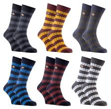 Farah - 2 Pack Mens Thick Cotton Rich Coloured Striped Ribbed Boot Dress Socks