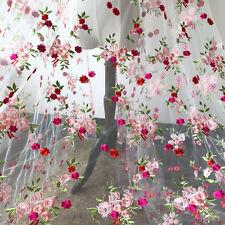 """Peach Blossom Wedding Lace Fabric 59"""" Embroidery Bridal Dress DIY Tulle Trim 1 Y"""