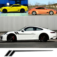 Sports car or Suv BLACK Stripe Racing Graphic Vinyl Decal Sticker Set 172x21.3cm