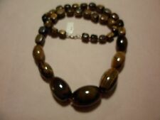 """Tigers Eye Graduated Bead Necklace w/Sterling Silver Clasp-32""""-1300.50 Carats"""