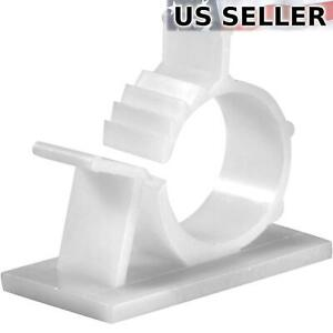 """25x Cable Clips Adhesive Cord Management Organizer Wire Holder 0.85"""" Clamp White"""