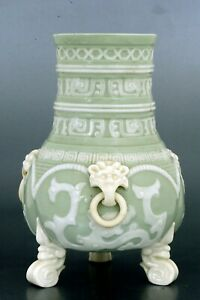 19C English Royal Worcester Chinese Chinoiserie Celadon Porcelain Vase Lion Ears