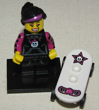 LEGO NEW SERIES 6 SKATER PUNK MINIFIGURE GIRL MINIFIG WITH SKATEBOARD 8827