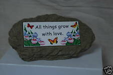"""New! Garden Stone with Inset Reading """"All things grow."""