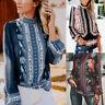 Womens Retro Printed Tops Long Sleeve Stand Collar Hollow Chiffon Shirt Blouse L