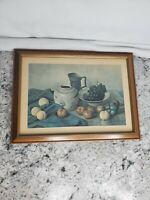 Hank Bog Still Life Fruit Vase and Pitcher Print in Medium Brown Frame VTG 1960