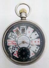 Superb Silver Waltham Black Jack Playing Card 7 Jewel Keyless Pocket Watch 1894