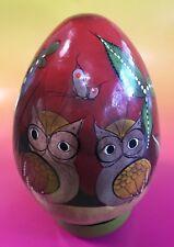 Vtg Hand Painted Paper Mache Wood Egg Folk Art Alcala Tonala Mexico Owl Squirrel