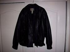 City Streets Men's XLT Black Leather Bomber Jacket