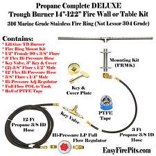 "TB74CK+: DIY DELUXE PROPANE FIRE PIT KIT & 74"" LINEAR 316 STEEL TROUGH BURNER"