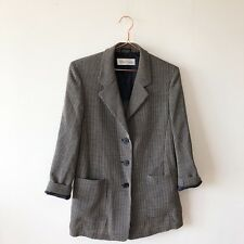 MAX MARA Designer Ladies Check Boyfriend Black Cream Jacket UK10 42 Work Career