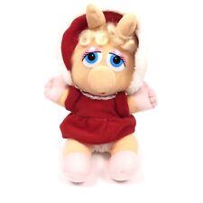 1987 Vintage Jim Henson Baby Miss Piggy Muppet Christmas Holiday Plush Doll