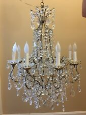 ~~ Antique Vintage Italian Crystal Macaroni Beaded Directoire Chandelier 8 Light