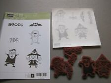 Stampin up Googly Ghouls Bat Witch Boo Spider Frankenstein stamp Set lot of 6