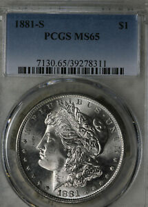 Gorgeous 1881-S Uncirculated Morgan Silver Dollar!  PCGS MS65!!