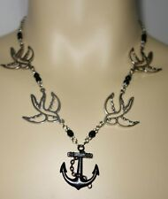 SILVER SWALLOW SWALLOWS BLACK ANCHOR Pendant BEADED NECKLACE Rockabilly/Pin-up