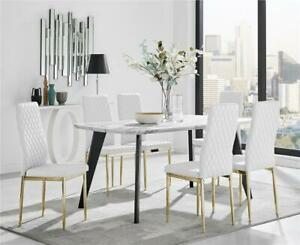 Andria Elegant Black Leg Marble Effect Dining Table and 6 Gold Leg Milan Chairs
