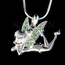w Swarovski Crystal ~Green Tinkerbell~ Tinker Bell Fairy ANGEL Necklace Jewelry