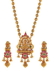 TRADITIONAL TEMPLE SOUTH INDIAN STYLISH NECKLACE GOLD WEDDING JEWELRY COMBO SET