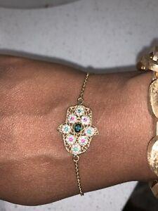 18k yellow gold Hamsa Hand bracelet 7 inch 3.9g estate vintage lobster