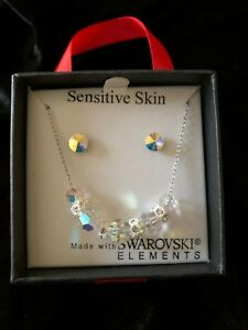 "Swarovski Elements Crystal Bead Pendant & Disk Earring Set 18"" Opal Clr $24 RARE"