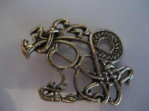 Scottish/Celtic Knot/Thistle Ethnic Vintage Gold Tone Brooch/Pin/Badge