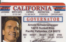 Governor Arnold Schwarzenegger / Governator TERMINATOR  ID card Drivers License