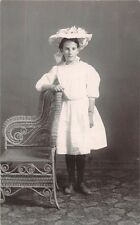 GRASS VALLEY CA ADDRESSEE YOUNG GIRL IN FLOWERED HAT REAL PHOTO POSTCARD c1910s