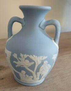 "Antique Wedgwood Light Blue Jasperware Dip Portland Vase 4"" high c:1890"
