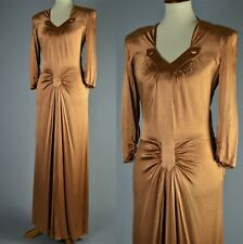 Vintage 1940's Old Hollywood Gold Orange Evening Gown with Draping