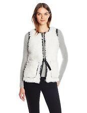 NEW GUESS Designer WOMENS CAMRYN VEST Faux Fur & Leather SOFT Black White Large!