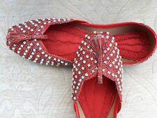 Indio Rojo señoras de cuero zapatos Khussa de Boda Talla 7