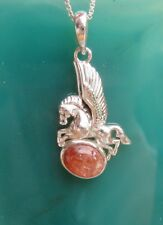 Pendant Pegasus Winged Horse Sterling Silver 925 with Sunstone