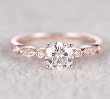 18k Rose Gold Filled Round Cut White Topaz Ring Wedding Engagement Jewelry Sz 8