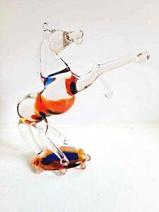 ART GLASS MINIATURE HORSE FIGURINE/SCULPTURE - 11CM TALL APPROX