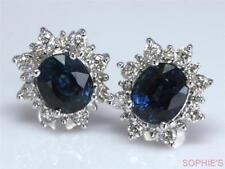 Cluster Sapphire White Gold Fine Earrings