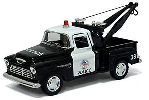 """1955 CHEVROLET Stepside Pickup Police Tow Truck 1:32 Diecast Model Car 5"""" Chevy"""