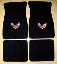 NEW Pontiac Firebird Trans Am LOGO Floor Mats Black Set of 4 Carpet Embroidered