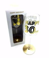 30th Birthday Gift - Gold Letters Wine Glass In Gift Box LP29592