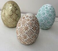 Easter Eggs with Display Base, Carved Resin. Flat Base. Set of 3.
