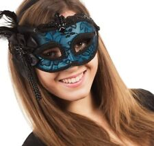 BLUE BURLESQUE BLACK FEATHER MASK WITH BLACK LACE BEADED FLOWERS AND RIBBON BOW