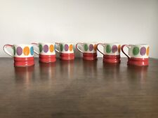 Set 6 Whittard of Chelsea ESPRESSO CUPS - Polka Dot - Red