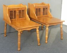 Pair Vintage French Country Cottage Style Solid Maple End Tables w Storage Space