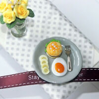 KQ_ 1/12 Doll House Miniature Egg Burger Tray Breakfast Model Decor Collectible