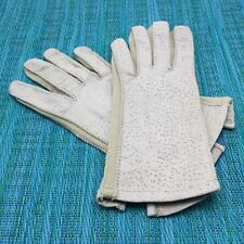 Vtg Deerskin Leather Driving Gloves Womens Lt Stone Beige Button Close Stretch