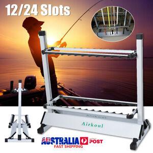 Portable Fishing 12/24 Rod Rack Pole Holder Aluminum Alloy Stand Storage Tool AU
