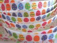 """2 M x colorido de huevos de Pascua Cinta del Grosgrain Artesanía Cabello Moño Pastel 10MM (3/8"""")"""